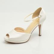 Peep toe satin bridal shoe ines