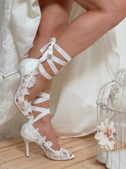 Ribbon Ankle Tie Lace Shoe